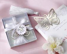 Butterfly Silver-Metal Bookmark White Silk Tassel Wedding Reception Favor Party