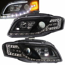 A4/S4 2005-2009 B7 Projector LED R8 HEADLIGHT w/Amber Black for AUDI