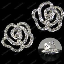 Clip su grandi Crystal Rose Orecchini con Strass Placcato Argento Stile Vintage Fiore