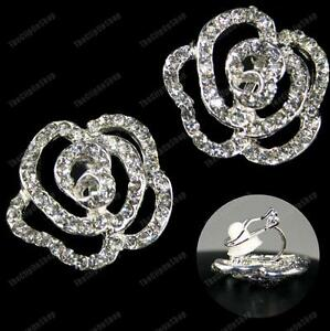CLIP ON BIG CRYSTAL ROSE EARRINGS rhinestone SILVER PLATED vintage style flower