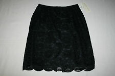 FREE SHIPPING Norton McNaughton Womens Size 12 Black Floral Skirt Lined NEW NICE
