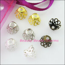 250 New Gold Silver Bronze Plated Wine Class Flower End Bead Caps Connectors 6mm