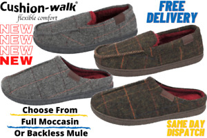 Mens Cushion Walk Tweed Faux Fur Lined Slip On Mules Full Moccasin Slippers UK