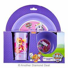 Purple Paw Patrol Children 3pc Breakfast Lunch Dinner Set Picnic Dining