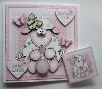 HANDMADE 3D BIRTHDAY CARD WITH KNITTING SHEEP. ANY RELATIVE. FREE GIFT TAG