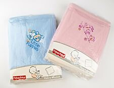 "*2 Pack Fisher Price Boy & Girl Fleece Embroidered Blankets 30"" x 40"""