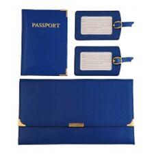 Leather Travel Wallet Organiser Document Set Navy - Brand New
