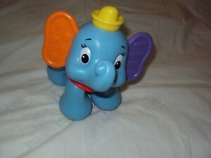 """Fisher Price Disney 6""""  Dumbo Elephant Clicking Baby Toy  -  Pre -Owned"""