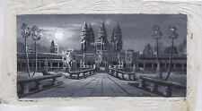"""Original Oil Painting from Cambodia     Scene with Angkor Wat  18"""" x 11""""    5204"""