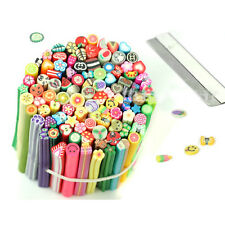 50pcs 3D Nail Art Flower Fruit Fimo Canes Rods Sticks Sticker Decoration + Blade