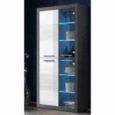 Vitrine Glasvitrine Wohnzimmer Schrank Kolibri grau MDF weiß Hochglanz mit LED