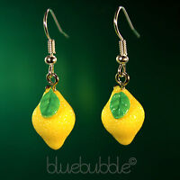 FUNKY SMALL FRUITY LEMON EARRINGS CUTE KITSCH RETRO FRUIT FUN SWEET KAWAII FOOD