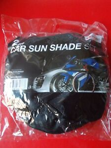 PACK OF 2 BLACK CAR SUN SHADES WITH SUCTION CUP IN CENTRE OF SHADE