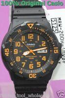 MRW-200H-4B Black Casio Watch 100M Date Day Display Black White Analog Resin New