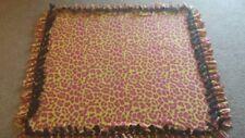 Neon Hot Pink Leopard Handmade Fleece Tie Blanket