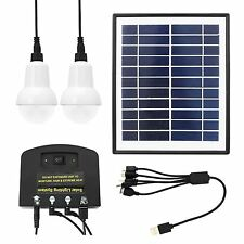 Outdoor 4W Solar Power LED Lighting System Kit USB Charger 2 Light Bulb Camping