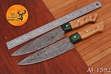 HAND FORGED DAMASCUS STEEL CHEF KITCHEN KNIVES SET WITH WOOD HANDLE - AJ 1592