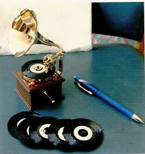 MINIATURE VICTROLA, Palm size, Plays mini recordsCollectibles Antique Not used.