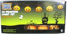10 Count Totally Ghoul Halloween Pumpkins String Lights Black Wire NEW!