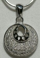 Sterling Silver Zircon Disc Pendant with 18 inch Sterling Silver Chain