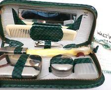 Walt Whitman Hotel Washcloth Vintage Travel Kit 1940s Never Used Green Zip Kit