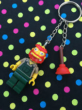 The Simpsons Groundskeeper Willie Keyring/Keychain...Handmade using LEGO® parts