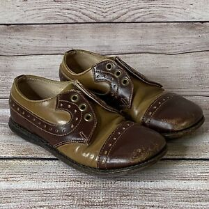 "Vintage 1940s/50s POLL PARROT Leather Childs Boys Shoes 7"" long"