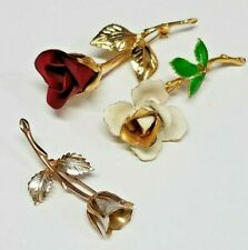 Vintage Lot 3 Giovanni Metal Enamel Roses Red White Silver Gold Tone Flower Bud
