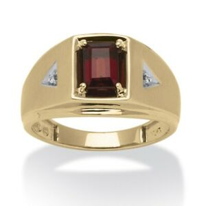 Men's 1.20 TCW Genuine Garnet and Diamond Accent Ring 10k Gold