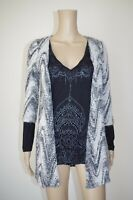 €80 DESIGUAL S WOMENS TUNIC TOP BEADS OPEN FRONT V-NECK BLOUSE COLORBLOCK SPRING