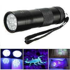 12 LED 395nm UV UltraViolet Flashlight Torch Scorpion Inspection Blacklight Lamp