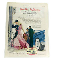 Saturday Evening Post Magazine Print Ad Vintage 1948 General Squeegee Tire Paper