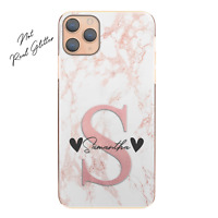 Personalised Initial Phone Case, Custom Name and Hearts Pink Marble Hard Cover