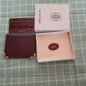 Cartier With Mirror Bi-Fold Wallet Bordeaux With Box