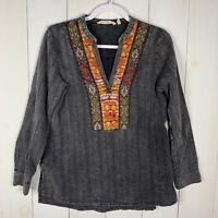 Soft Surroundings Womens Multi Color Sz S Long Sleeve V-Neck Embroidered Top