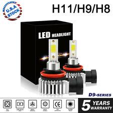 Mini H9 H11 LED Headlight High or Low Beam Bulbs 120W 24000LM 6000K White 2Pcs