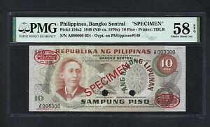 Philippines 10 Piso 1949(ND ca.1970) P154s2 Specimen About Uncirculated