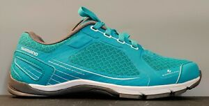 Shimano Click'r CW41 Women's Teal/White Cycling Shoes Size US 9.5 See PICTS VG