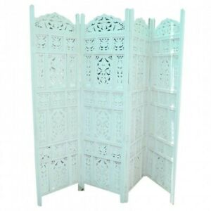 MADE TO ORDER Hand Carved Indian 4 Panel Partition Screen Room Divider Teal L