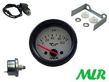 52 mm Manómetro de Aceite & Kit de remitente eléctrico blanco cara Pista Race Car MLR. azn