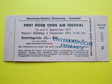 ^°^ Rar!  Eintrittskarte FIRST RIDER OPEN AIR FESTIVAL 1977 Abbruch Bühnenbrand