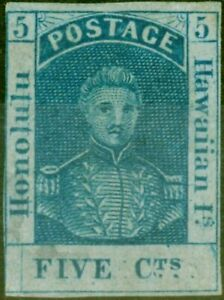 Hawaii 1861 5c Blue SG17a Sc9a Thin Bluish Paper Vert Line Through Honolulu B