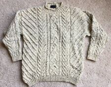 IRISH ARAN FISHERMAN Beige Mock Neck sz L  SWEATER BY PAUL JAMES MADE IN ENGLAND