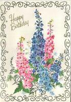VINTAGE PINK BLUE DELPHINIUMS FLOWERS LEGEND OF THE DELPHINIUM BD GREETING CARD