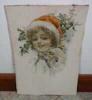 VTG Lady & Santa Print Harrison Fisher Christmas Holiday Creepy Decor Art Pretty