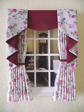 MINIATURE DOLL HOUSE 12TH SCALE CURTAINS DRAPES SWAG TAIL FLORAL 4 in x 7 1/2 in