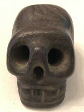 Ancient Hand Carved Meteorite Culture Stone Skull Pendant Walking Stick Topper