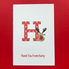 10 Personalised Christmas Thank You Cards - Blank - Folded - Childrens - Kids