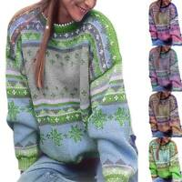 Plus Size Womens Jumper Long Sleeve Knit Sweater Sweatshirt Pullover Tops Blouse