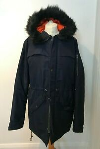 Womens Navy Puffer Padded Coat Winter Parka Zip Up Faux Fur Hood UK Medium